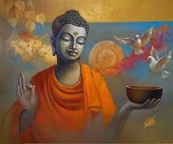 buddha ananda painting by artist sanjay lokhande oil canvas
