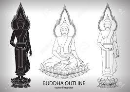 Buddha Silhouette Layout Vector Illustrator