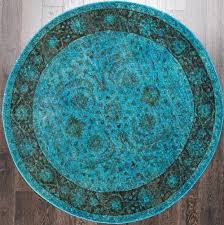 19821 66 rugsville traditional vintage inspired overdyed fl turquoise round rug 180 x 180 01 157 jpg