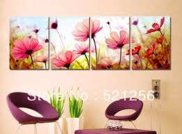 get quotations 4 pieces free shipping modern wall oil painting romantic pink flower wall art picture paint on on flower wall art prints with cheap flower wall prints find flower wall prints deals on line at