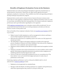 How To Create An Employee Evaluation Form Benefits Of Employee Evaluation Forms In The Business