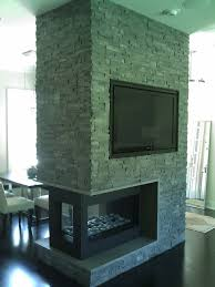 3 sided fireplace with tv contemporary
