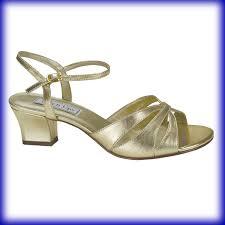 closeup of monaco gold metallic low heel evening shoes