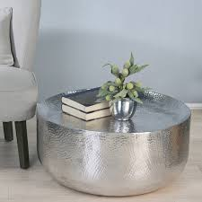 silver metal coffee table stamped and copper