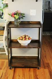 diy industrial rolling cart wood and metall