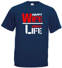 Top Fun Herren T Shirt Sprüche Happy Wife Happy Life S Xxxl Mario