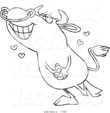 Small Picture Vector of a Cartoon Infatuated Bull Coloring Page Outline by