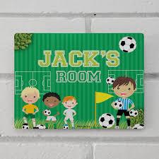 personalised kids door room sign soccer