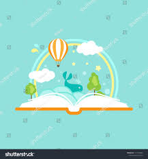 open book with air balloons clouds rainbow and stars isolated on blue background vector flat ilration magic fairytale reading logo
