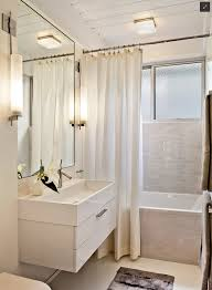bathroom, Awesome Small Bathroom With Catchy White Fabric Curtain Plus  Likeable Hanging Sink Units Using