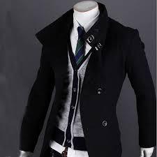 men s wool casual business winter trench coat peacoat overcoat
