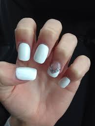 Nail Art Designs On White Nails White Nails With Ring Finger Design White Nails Nail
