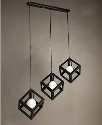 nordic creative american style wrought black iron pendant light square lamp simple lights kitchen lighting in pendant lights from lights lighting on