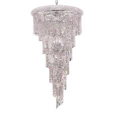 best and newest elegant lighting spiral 30 in 22 light chrome crystal crystal with regard
