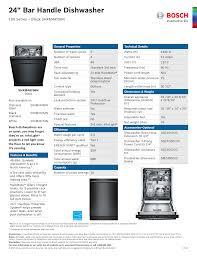 Bosch Dishwasher Red Light Bosch Shxm4ay52n Speicifcations Sheet Manualzz Com