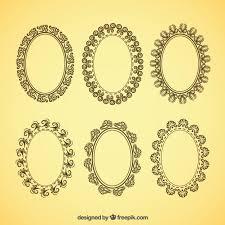 vintage frame design oval. Decorative Oval Frames In Vintage Style Free Vector Frame Design