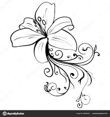 гранж элегантность чернила татуировки эскиз цветок векторное