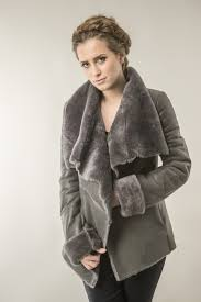 brown womens fur coat made from nappa leather and trimmed lamb fur