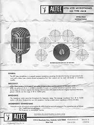 altec western electric 639a 639b the operating instructions for this mic condition is fair includes jack wiring diagram