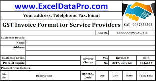 Service Invoice Template Excel Unique Download GST Invoice Format For Service Providers In Excel