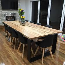 dinning table hardwood timber top with black steel legs to fit 10 12 ppl tom making