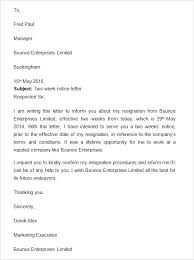 One Weeks Notice Letter 2 Weeks Notice Email Highly Professional Two Letter Week Resignation
