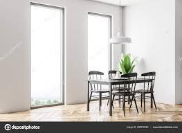 Weißen Skandinavischen Stil Esszimmer Interieur Mit Einem