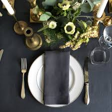 slate charcoal grey round linen tablecloth