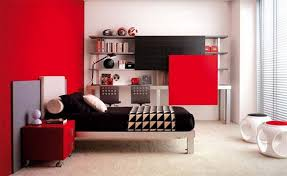 bedroom design red contemporary wood: bedroom beautiful red white wood glass modern design red bedroom decorating ideas black mattres cushion wall racks book windows chairs night lamp at