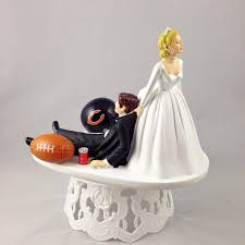 Handmade Wedding Cake Topper Funny Football Themed Chicago Bears