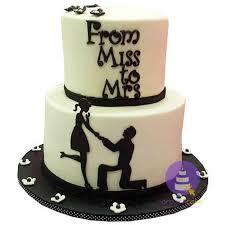 Monochrome Engagement Cake Wwworderacakeng Bridal Showers