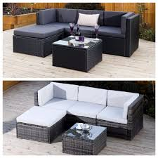 Black Grey Corner Modular Rattan Weave Corner Sofa Set Garden Furniture +  Cover