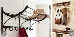 Hat And Coat Rack With Shelf distressed metal wall storage with hooks grey industrial wall hooks 28