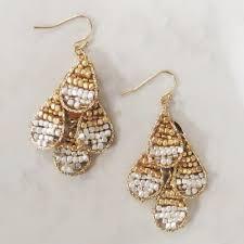 home earrings drop beaded chandelier teardrop earrings matte silver gold