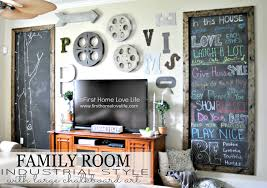 Family room wall art Wall Decor Famroom Cover First Home Love Life Industrial Style Family Room Gallery Wall With Chalkboard Art