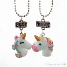 whole 2018 new unicorn necklace best friends forever pendant necklaces kids f jewelry resin colored 3d unicorn necklaces chain plated white gold