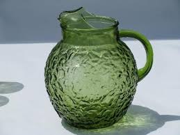 antique green pitcher and glasses