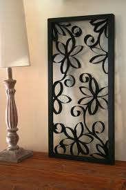 wrought iron wall decor adds elegance