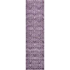 damask purple 3 ft x 10 ft runner rug