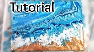 7 how to paint ocean waves and a beach in a dirty pour fluid acrylic painting