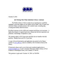Cover Letter For Library Assistant Job Fillable Online Job Posting Part Time Substitute Library