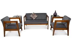 chairs for living rooms. Compact Wooden Sofa Set- For 4 Chairs Living Rooms
