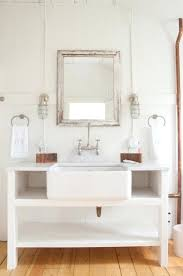 farmhouse style bathroom mirrors decoration incredible cottage style bathroom sink vanity using farmhouse basin with satin nickel pull down faucet diy