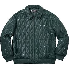 details about supreme quilted studded leather jacket green large fw18 very rare deadstock