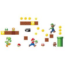 Super Mario Bros Bedroom Decor Room Mates Nintendo 45 Piece Super Mario Wall Decal Reviews
