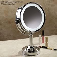 Round Makeup Light Furniture Impressive Lighted Mirror Vanity For Dresser