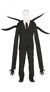 mens slenderman costume horror demon fancy dress black suit new