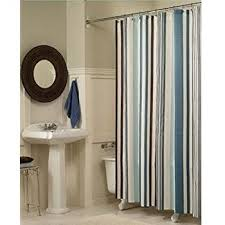 blue and beige shower curtain. moldiy fabric shower curtain, blue stripes and beige curtain d