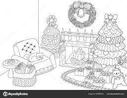 Libro Colorare Colorare Zentangle Stilizzato Albero Natale Camino