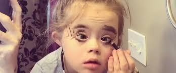 video little wears moms makeup and she is fierce